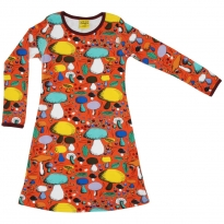 DUNS Dark Orange Mushroom Forest LS Dress