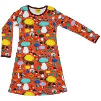 DUNS Dark Orange Mushroom Forest LS Dress
