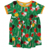 DUNS Green Christmas Tree SS Gathered Dress