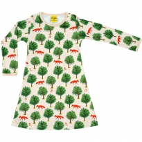 DUNS Tan Fox & Tree LS Dress