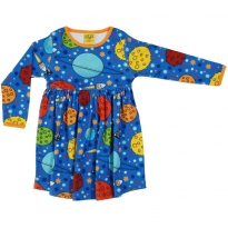 DUNS Blue Lost In Space LS Gathered Dress
