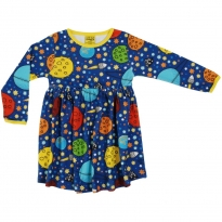 DUNS Navy Lost In Space LS Gathered Dress