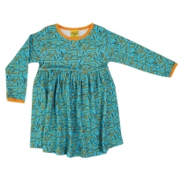 DUNS Adult Turquoise Pencils LS Gathered Dress