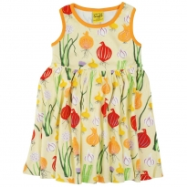 DUNS Pale Green Garlic, Chives & Onion Sleeveless Gathered Dress