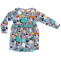 DUNS Violet Mushroom Forest LS Gathered Dress