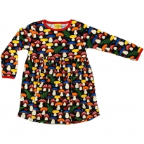 DUNS Black Mushrooms LS Gathered Dress