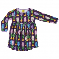 DUNS Purple Hyacinth LS Gathered Dress