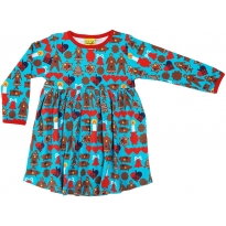 DUNS Turquoise Gingerbread LS Gathered Dress