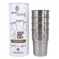 EcoLiving British Stainless Steel Cup - UK Pint (Set of 4)