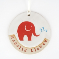 Babipur Elephant Nadolig Llawen Decoration