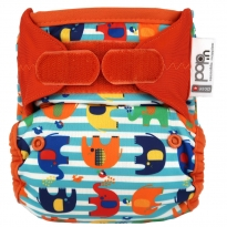 Pop-in +bamboo Stripe Elephant Nappy