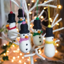 Fair Trade Felt Snowman Decoration by Namaste