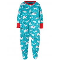 Frugi Aqua Snowscape Lovely Babygrow