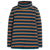 Frugi Multistripe Ava Stripe Roll Neck Top