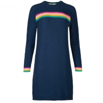 Frugi Bloom Katie Knitted Blue Rainbow Dress
