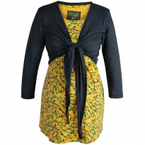 Frugi Bloom Mustard Floral Top and Tie Cardigan