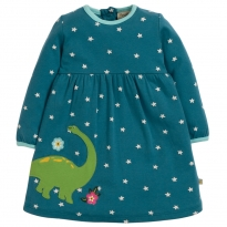 Frugi Blue Star Dino Dolcie Dress