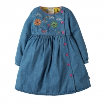 Frugi Chambray Bird Embroidered Button Dress