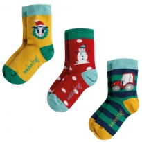 Frugi Festive Friends Rock My Socks Multipack