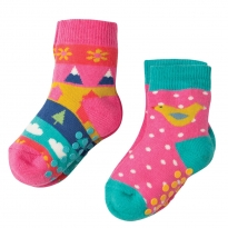 Frugi Bird Grippy Socks x2