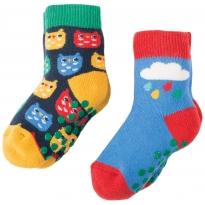 Frugi Owl Grippy Socks x2