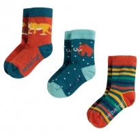 Frugi Prehistoric Little Socks 3 Pack