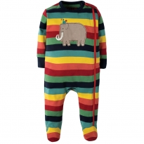 Frugi Mammoth Rainbow Zipped Babygrow