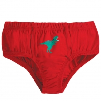 Frugi Red Dino Barney Printed Briefs