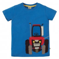 Frugi Tractor James Applique T-Shirt
