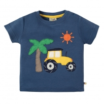 Frugi Tractor Little Creature Applique Top