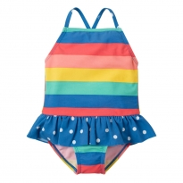 Frugi Rainbow Stripe Little Coral Swimsuit