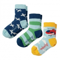 Frugi Plane Rock My Socks Plane x3