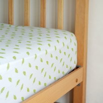 Frugi Soft White Leaf Cuddle-Up Cot Bed Sheet