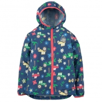 Frugi Blue Tractors Puddle Buster Pack-Away Jacket