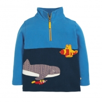 Frugi Whale Shark Super Half Zip Jumper