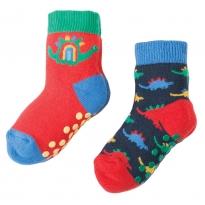 Frugi Dino Grippy Socks x2