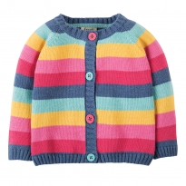 Frugi Pink Rainbow Little Happy Day Cardigan