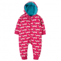 Frugi Raspberry Beret Dogs Snuggle Suit