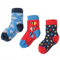 Frugi Shark Rock My Socks 3-Pack