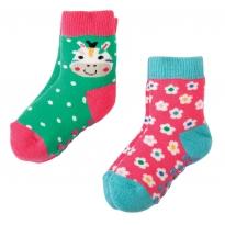 Frugi Zebra Grippy Socks x2