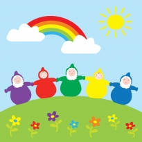 Babipur Rainbow Dwarfs Greetings Card