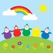 Babipur Rainbow Dwarfs Greetings Card