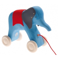 Grimm's Pull Along Blue Elephant