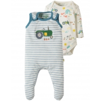 My First Frugi Blue Tractor Outfit