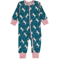Maxomorra Unicorn Dreams LS Zip Romper
