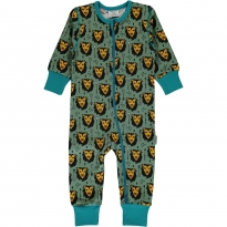 Maxomorra Lion Jungle LS Zip Romper