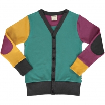 Maxomorra Multi Town Block V Sweat Cardigan