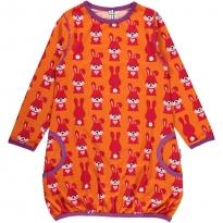 Maxomorra Orange Rabbit LS Balloon Dress