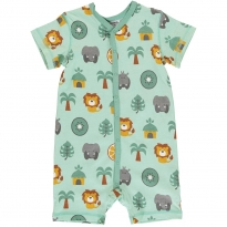 Maxomorra Jungle SS Button Romper