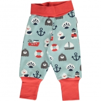 Maxomorra Blue Ocean Rib Pants